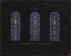 Design for windows over entrance. Symbols of the seven corporal works of mercy.