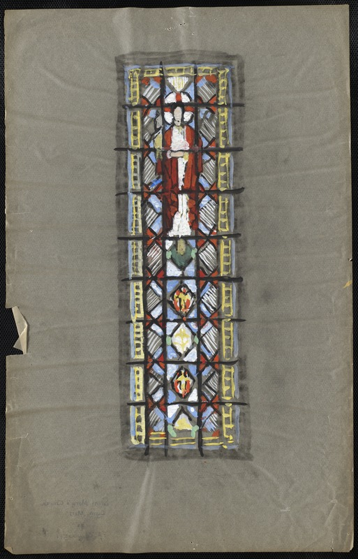 Window with a man, possibly Jesus, in the upper middle.