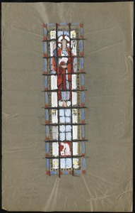 Window with a man, possibly Jesus holding a lamb, in the upper middle.