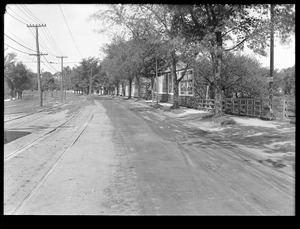 Distribution Department, Southern High Service Pipe Lines, Section 47, Commonwealth Avenue, near Newton-Brighton line, preliminary street surface view (compare with No. 7459), Brighton; Newton, Mass., May 20, 1918