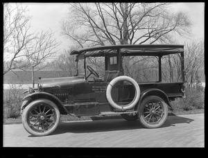 Distribution Department, MWW truck No. 3 [MDC No. 13], Jeffery; driver side view; at Chestnut Hill Pumping Stations, Brighton, Mass., May 5, 1920