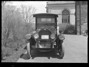 Distribution Department, MWW truck No. 3 [MDC No. 13], Jeffery; front view; at Chestnut Hill Pumping Stations, Brighton, Mass., May 5, 1920