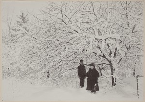 Photograph Album of the Newell Family of Newton, Massachusetts - Boy and Girl among Snow Covered Trees -