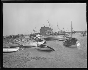 Boats ashore at Savin Hill Yacht Club, Dorchester, Hurricane of 38
