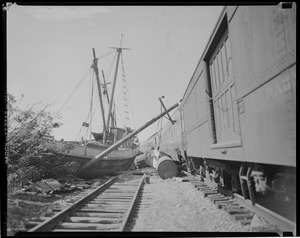 Boats blown onto railroad tracks, Hurricane of 38