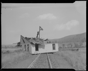 House blown onto railroad tracks, Hurricane of 38