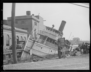 "Steamer ""Monhegan"" sinks at pier in Providence, Hurricane of 38"