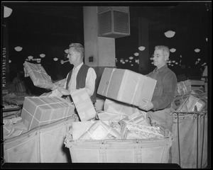 Sorting mail during Christmas rush, South Station Postal Annex