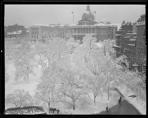 State House and Common in snow