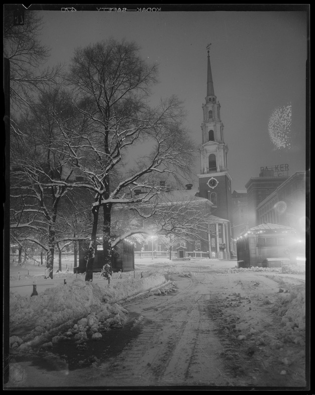 Park St. Church in snow