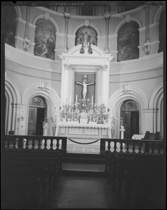 Alter, unidentified Roman Catholic Church, with Easter lilies