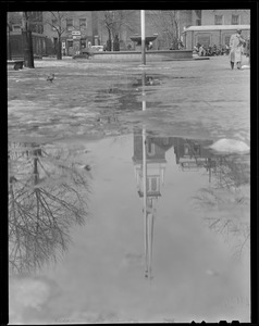 Old North Church reflection after thaw