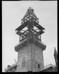 Construction of tower for the New Old South Church