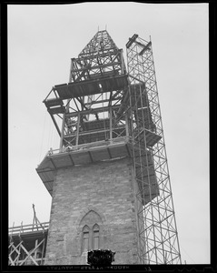 Close up of construction of New Old South Church tower
