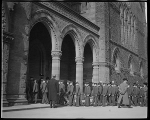 Military men entering New Old South Church in Copley Square