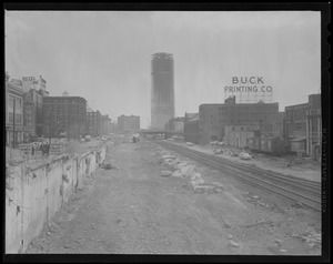 Prudential under construction, from along the line of the B&A railroad