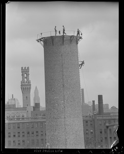 Demolition: taking down old Boston elevated power station chimney on Albany St.