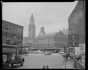 Boston, Central Artery vicinity, Faneuil Hall, Custom House Tower in background