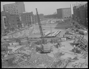 Dewey Square - showing tunnel under construction. Looking down Atlantic Avenue from South Station.