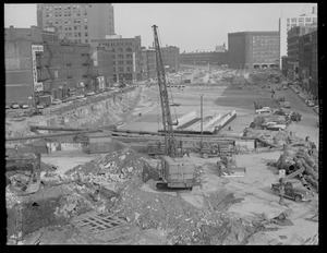 Dewey Square showing tunnel under construction, looking down Atlantic Ave. from South Station