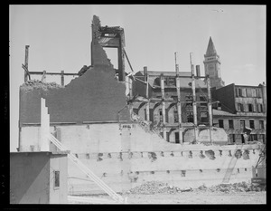 Demolished building near entrance to East Boston Tunnel, Central Artery construction