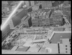 Bird's eye view of construction site, downtown Boston
