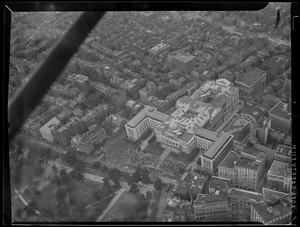 Airplane view of State House and Beacon Hill