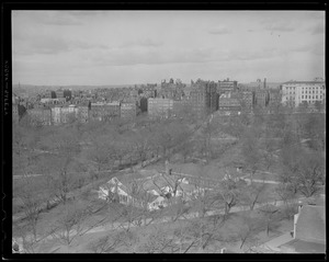 "Beacon Street from across the Common, showing armed servicemen's building (""Buddies Club"")"