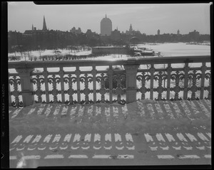 Boston skyline (Back Bay from Longfellow Bridge, iron railing detail)