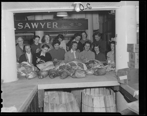 Nurses visit Thresher & Kelly's meat shop, Quincy Market