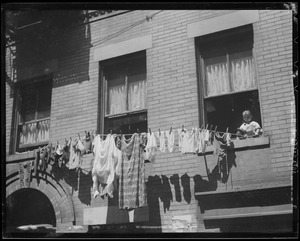 Clothing drying on lines in the North End