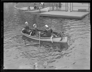 Sailor boating on pond, Public Garden
