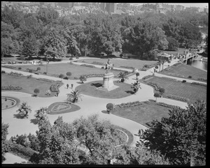 Birdseye view of Public Garden from Arlington St.