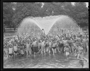 Boston Common (boys and girls in fountain pool)