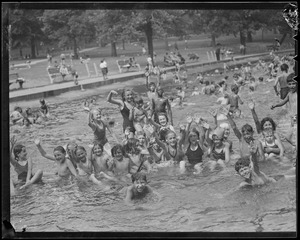 Kids swimming in pond on Common