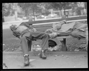 Two men passed out on park bench