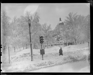 Boston Common and State House dome in the snow