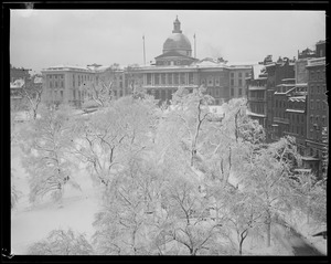 Boston Common and State House in snow