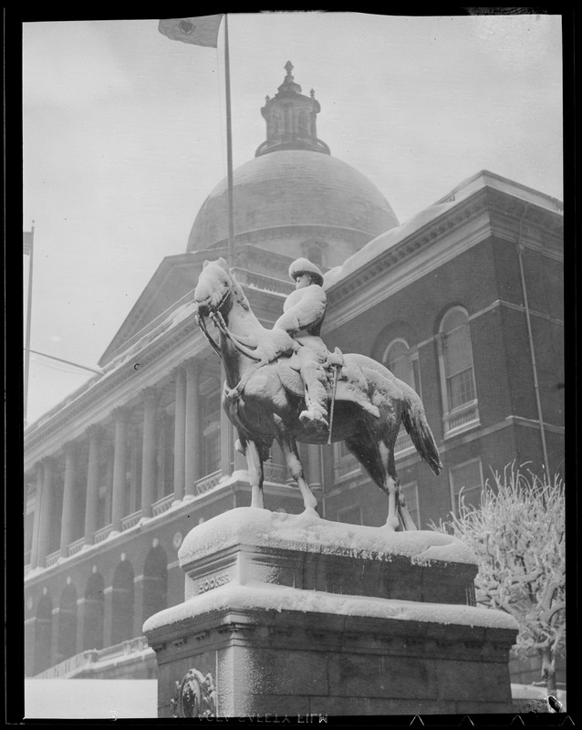 State House and Hooker Statue in snow