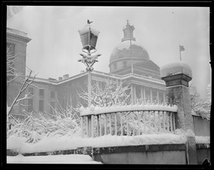 State House in the snow
