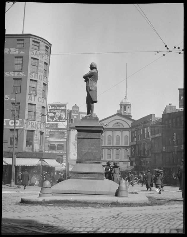 Boston Samuel Adams Statue, Adams Square, moved to Dock Square in 20's, Faneuil Hall in background