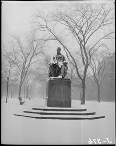William Lloyd Garrison Monument in the snow