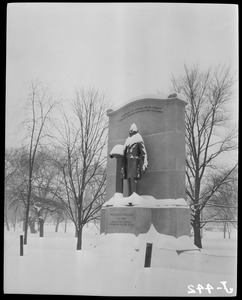 Wendell Phillips Monument in the snow