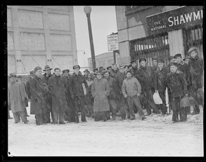 Northern Ave., near fish pier, crowd, sailors in front of the National Shawmut Bank - removed 2003, snowing(?)