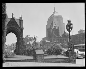 Copley Square toward Trinity Church from Boylston side of New Old South Church