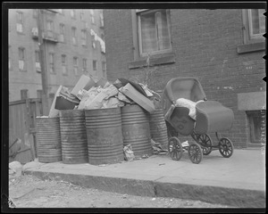 Stroller out with garbage, Boston
