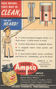 These moving parts must be clean, and not heard! Ampco vapor lubricator