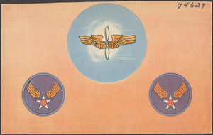 """Army Air Corps symbol, also called the """"Hap Arnold."""" Prop and wings insignia"""
