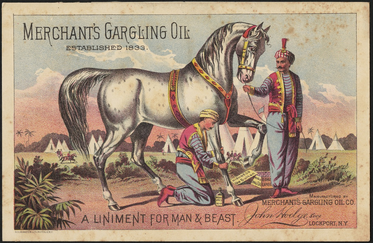 Merchant's Gargling Oil, a liniment for man & beast