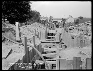 Distribution Department, Low Service Pipe Lines, Section 28, 20-inch pipe in High Street, near station 32, West Medford, Medford, Mass., May 26, 1899
